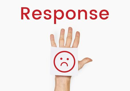 sign post: Evaluation Feedback Customer Smiley Response Stock Photo