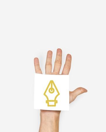 Symbole d'icône stylo encre avec shoot studio de personnes Banque d'images - 78885604