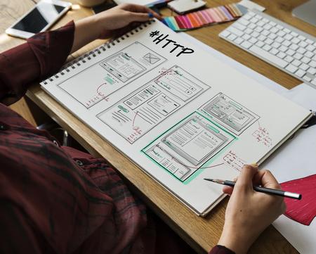 Développement du site mise en page croquis dessin Banque d'images - 78965528