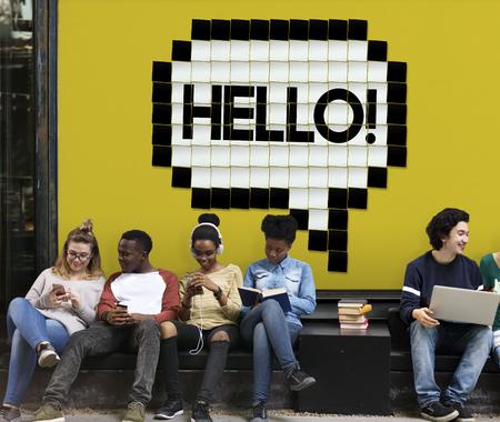 Hello Speech Bubble Pixelated Word Concept