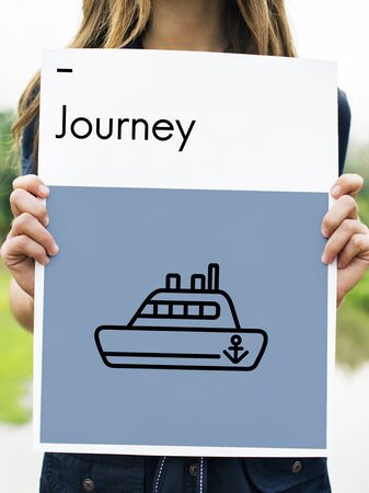 Route Holiday Discover Journey Boat Sign Stok Fotoğraf - 78888619
