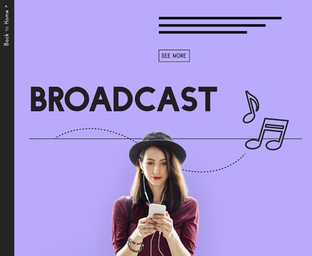 woman on phone: Broadcast Audio Music Streaming Online Entertainment Media Stock Photo