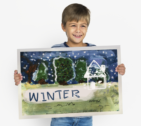 Children painting home winter drawing Imagens