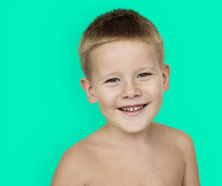 Caucasian Little Boy Bare Chested Smiling Stock Photo