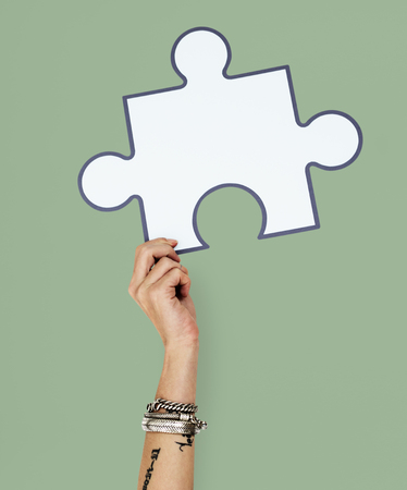 Hand Up Holding Jigsaw Illustration Stok Fotoğraf - 78889695