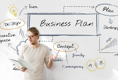 Man with business plan concept