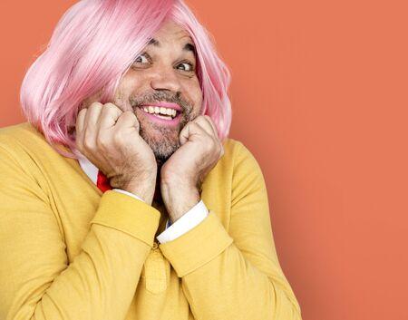 Caucasian Man Wig Acting Cute