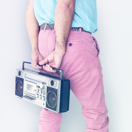 Crop photo of man colorful fashiion holding stereo Stock Photo