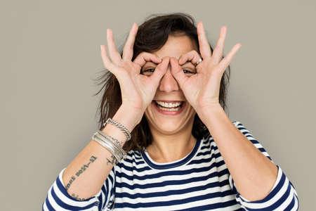 Woman Smile Emotion Expression Studio Portrait Stock Photo