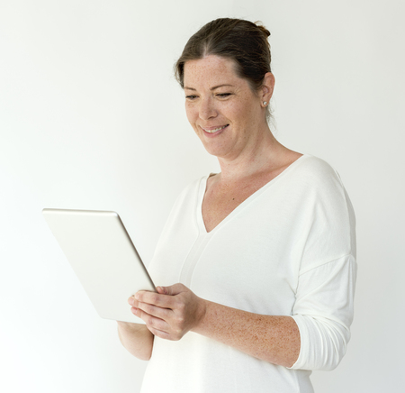 Adult Woman Using Tablet Digital Device