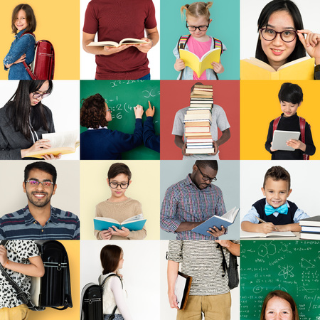 Set of diversity people reading education lifestyle 版權商用圖片