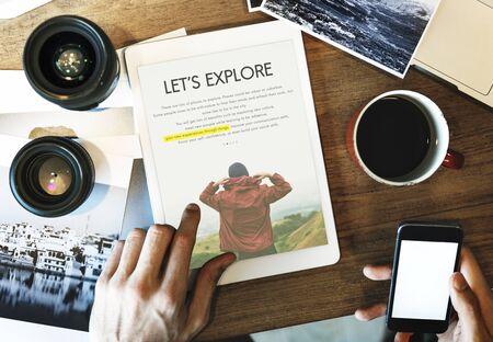Travel Journey Explorer Adventure Tour Word Stock Photo
