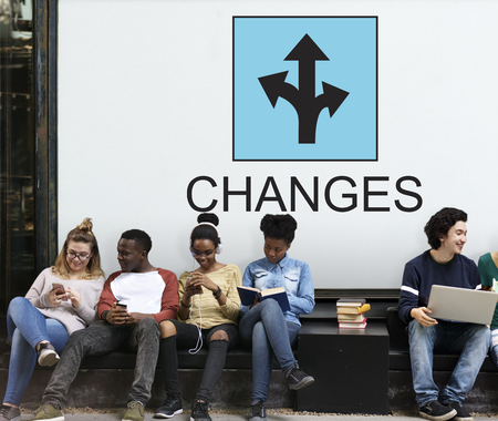 Students with changes concept