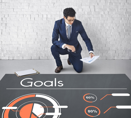 Business Process Goals Target Success Graph Stock Photo