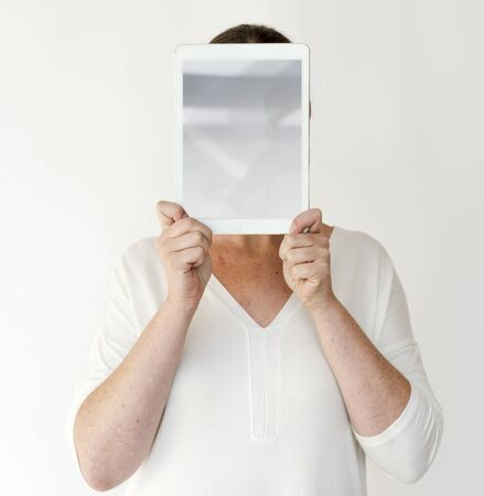 Woman Hands Hold Show Blank Tablet Stock Photo