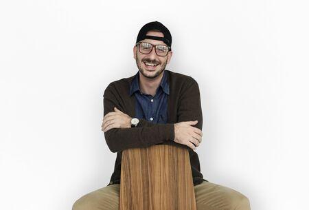 Casual Caucasian Man Smiling Sitting