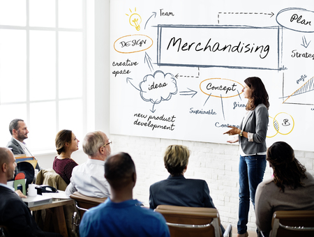 Woman presenting about merchandising Stock Photo