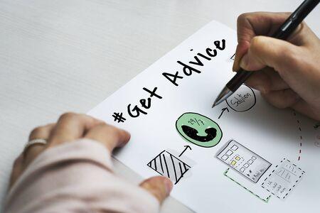 판매 후 조언 정보 얻기 스톡 콘텐츠