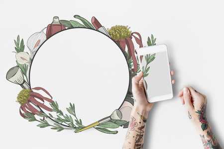 Copy space floral empty frame Stock Photo