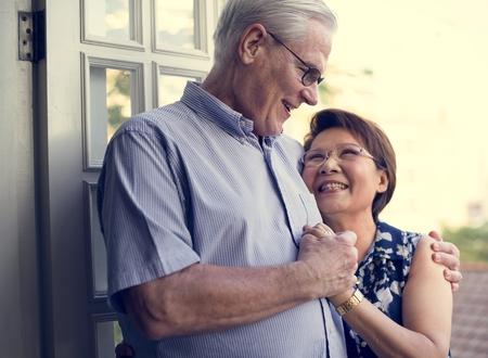 Senior Couple Hug Smitten Love Relax