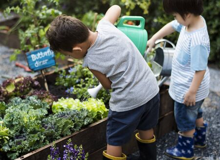 Kids having fun gardening outdoor