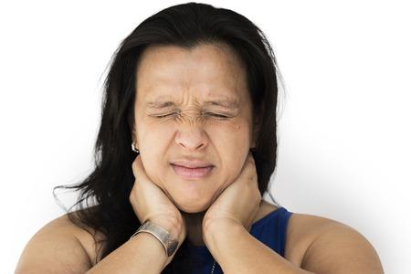 Mulher sentir realmente dor no pescoço e músculo Foto de archivo - 79318570