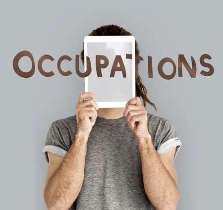 Person with occupations concept