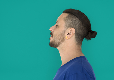 Man with cool hairstyles is in a studio shoot Stock Photo