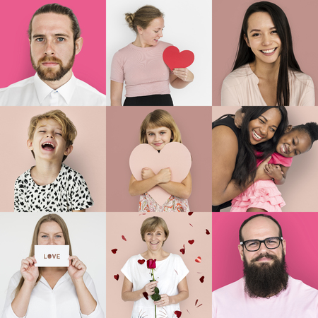 Set of Diversity People with Heart Love Studio Collage