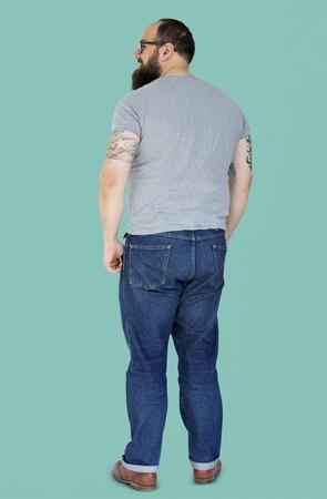 Adult Bearded Man with Tattoo - Studio Portrait Stock fotó