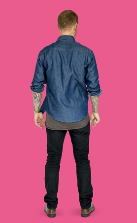 Adult Man Standing Rear View - Studio Portrait Stock fotó