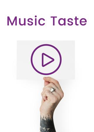 logo music: Hand holding network graphic overlay banner