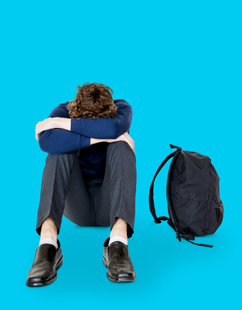 depress: Student young man stressed unhappy failed alone