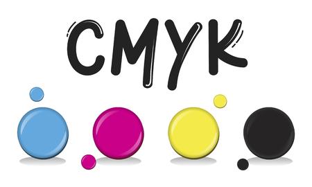 CMYK 크리에이티브 디자인 컬러 잉크 혼합 인쇄 개념