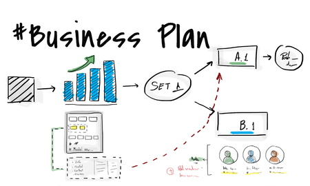 Business plan flowchart drawing sketch Stock fotó - 79307982