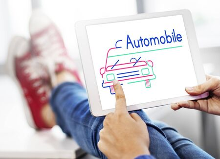 finding: Illustration of automotive car rental transportation on digital tablet