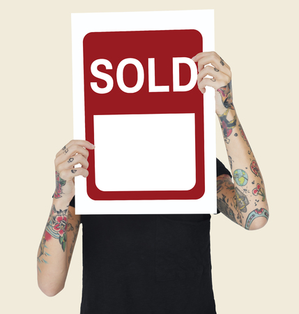 Sold Banner Notification Sale Concept