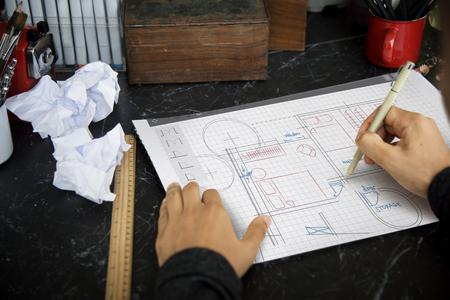 Vloerplan Brainstorming Ideas Sharing Stockfoto