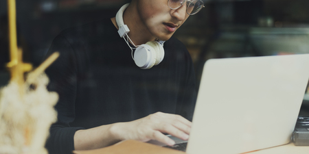 Asian Guy Sit Work Photo Camera Laptop