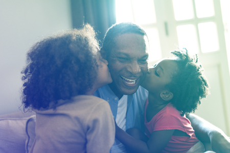 Daughters Kisses Father Morning Happiness Stock Photo