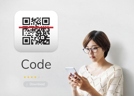 Illustration of QR quick response code application