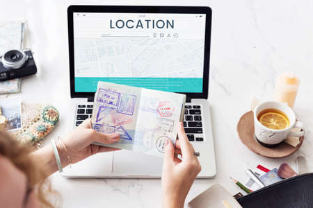 paper pin: Map GPS Direction Navigation Route Travel
