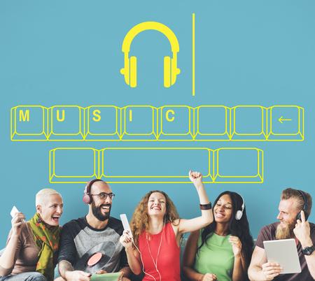 音楽オーディオ ヘッドフォン エンターテイメント グラフィック