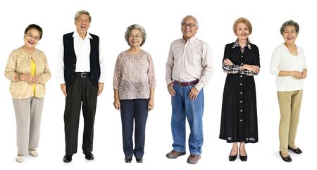 Group of Diverse Senior Adult People Set Studio Isolated Stock Photo