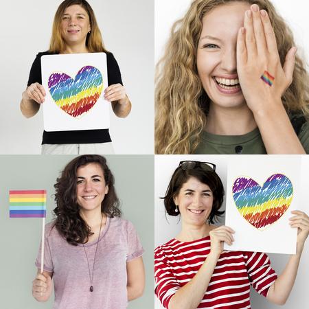 LGBT Lesbian Gay Pride Equality Human Rights Studio Collage Фото со стока