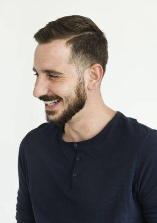흰 수염이 사람의 쾌활한 양성 초상화 스톡 콘텐츠