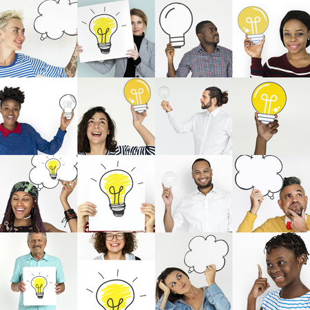 People Set of Diversity People with Ideas Inspiration Studio Collage Stock Photo
