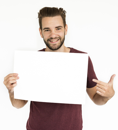 Male Holding White Blank Placard Concept