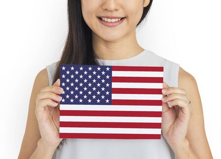 Woman Hands Hold American Flag Patriotism