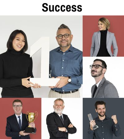 Collage of business people with success achievement